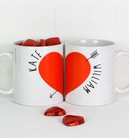 Personalised Love Heart Mugs Pair with chocs