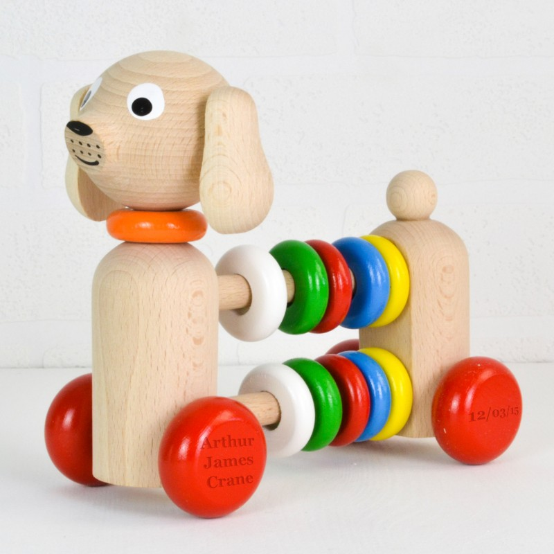 Personalised Push Along Wooden Toy Dog