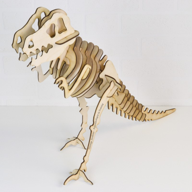 Personalised Wooden Dinosaur Skeleton Kit Model