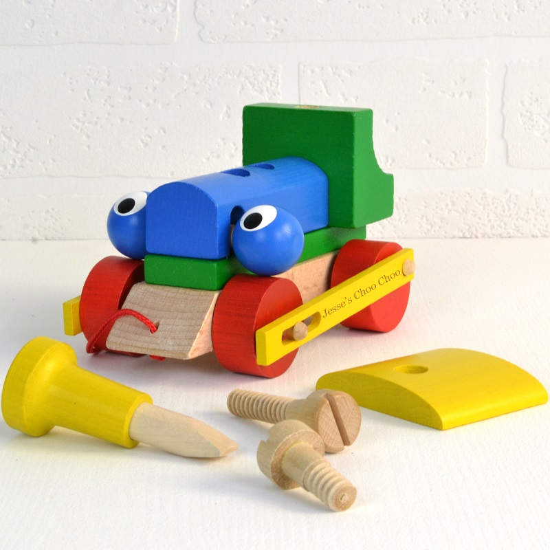 Personalised Wooden Train / Push Along Toy - Meenymineymo