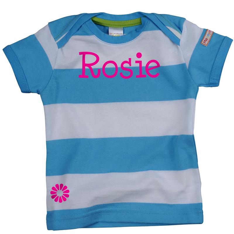 f917125b7 Personalised kids tshirt - short sleeved organic blue - Meenymineymo
