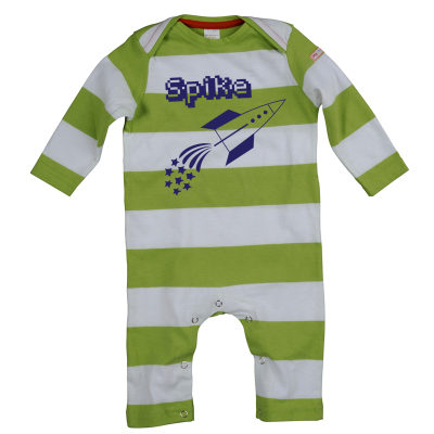 Personalised Rocket Romper green