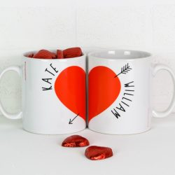 Personalised Love Heart Mugs Pair with chocs