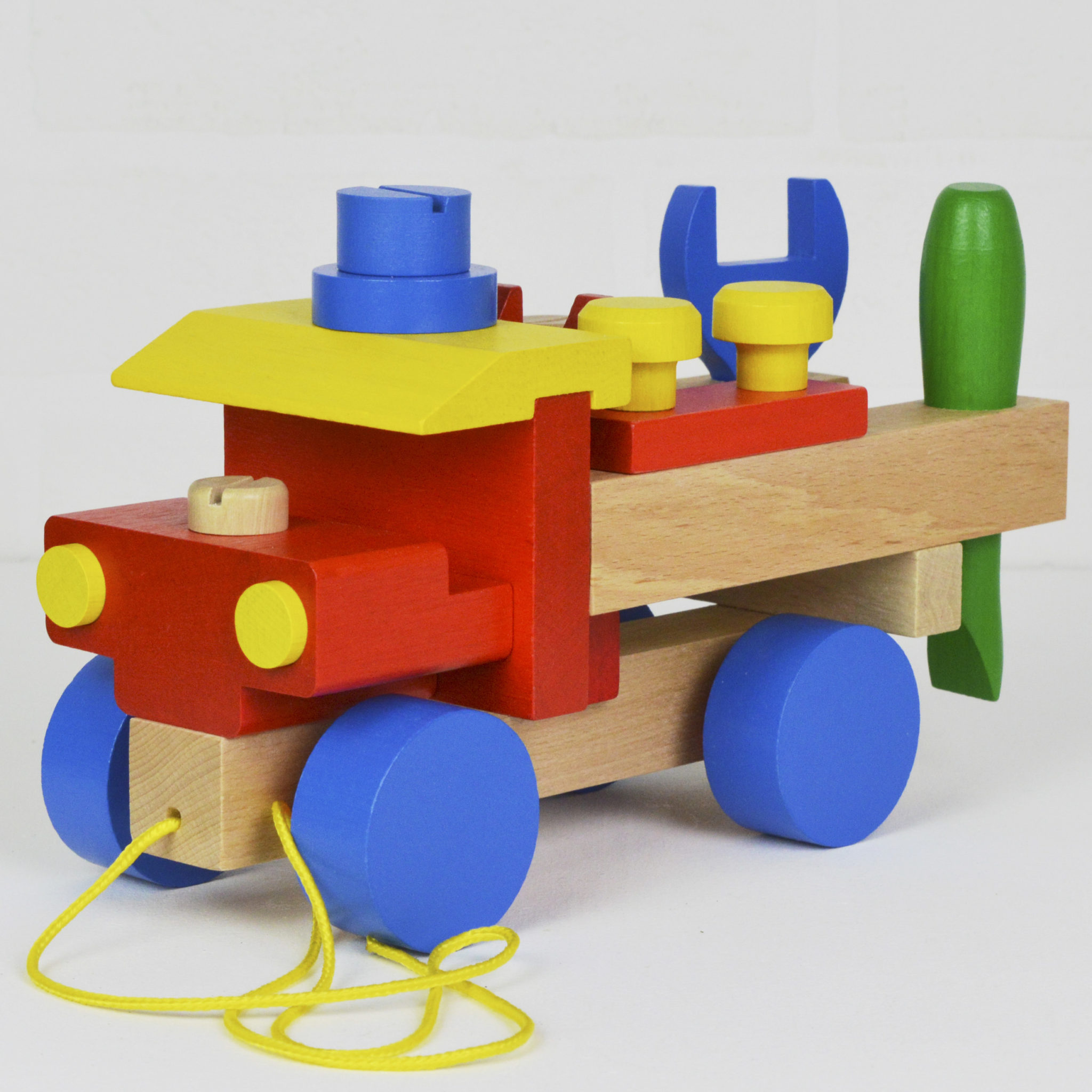 Personalised Wooden Pull Along Toy Tool Truck Meenymineymo