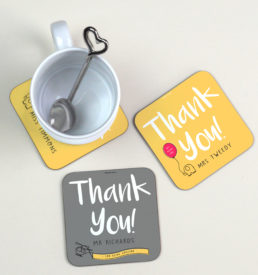 Personalised thank you gift coaster