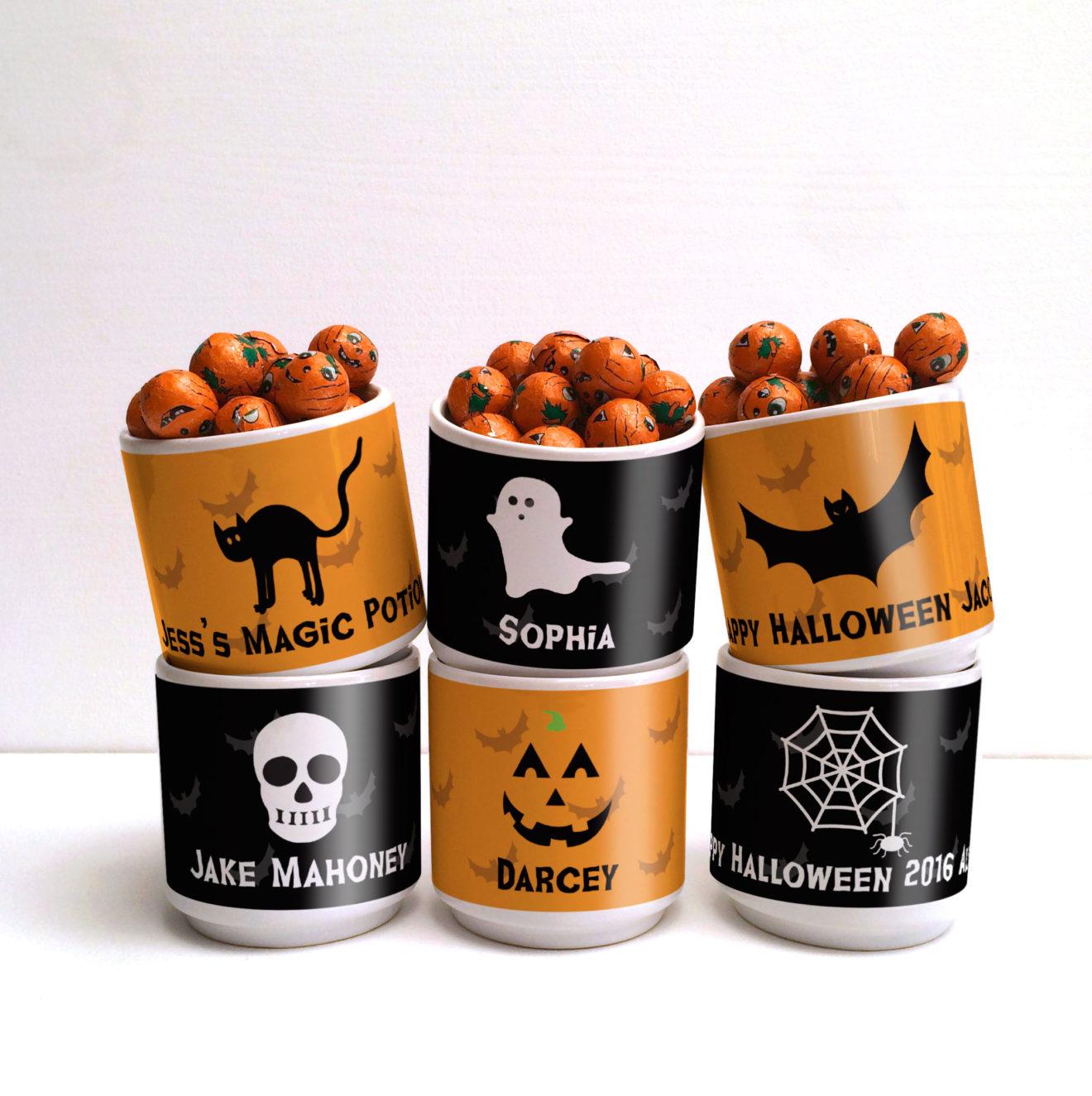 personalised halloween party gift mug - meenymineymo