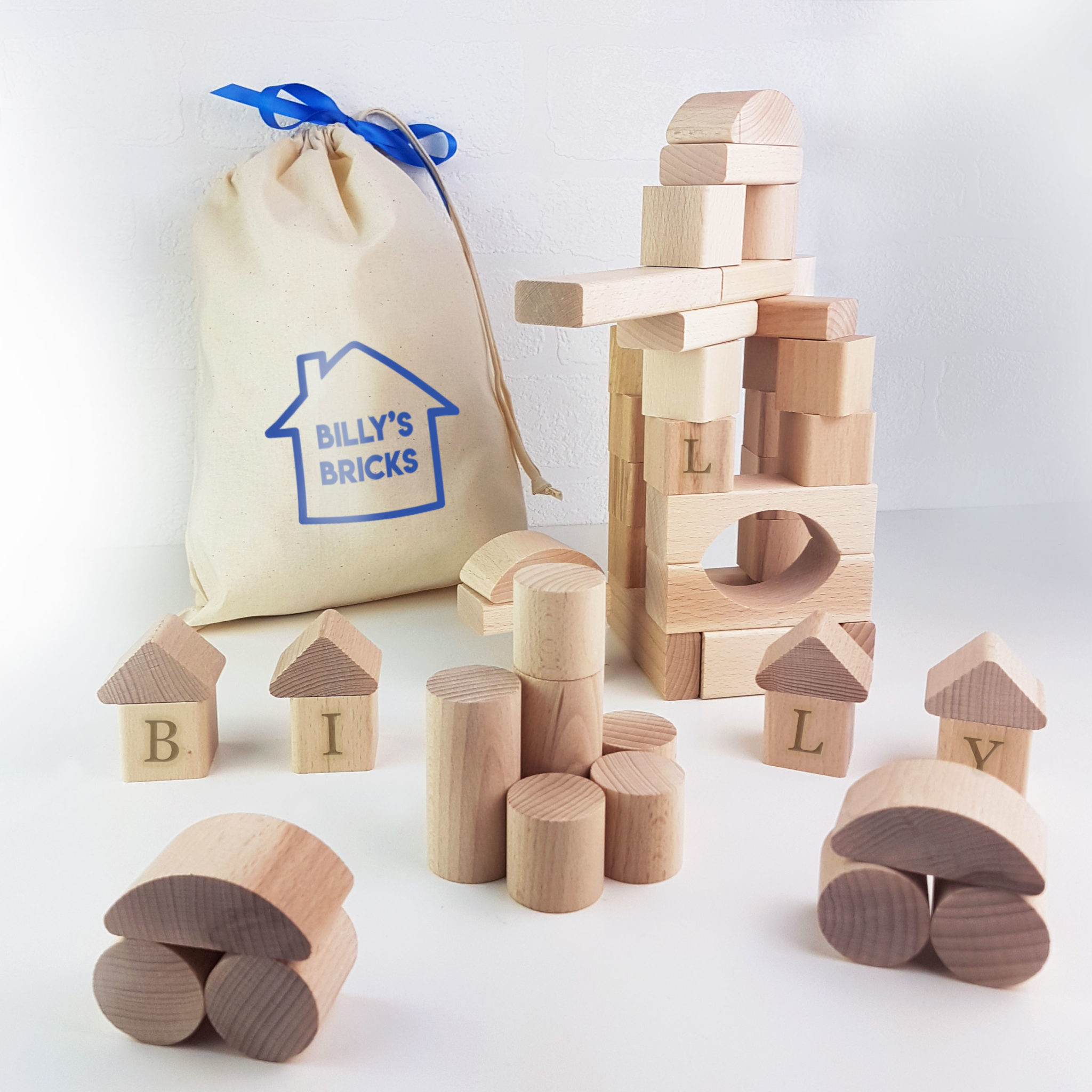 Personalised Wooden Building Blocks Gift Set Meenymineymo